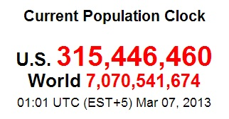 world population clock March 6 2013