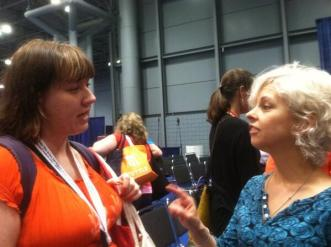 Kate DiCamillo talks and I listen at BEA13. Thank you, Jen and Noah for this photo.