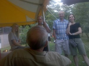 Dad holding court under the big tent at the Nussbaum family reunion in 2010